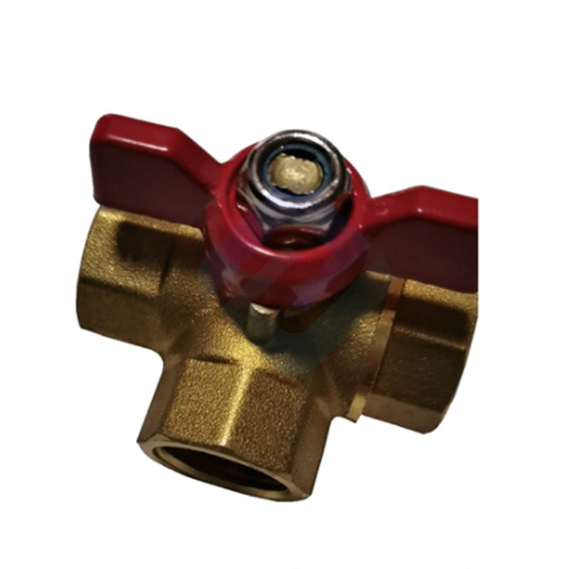 Three Way Brass Ball Valve with Butterfly Handle