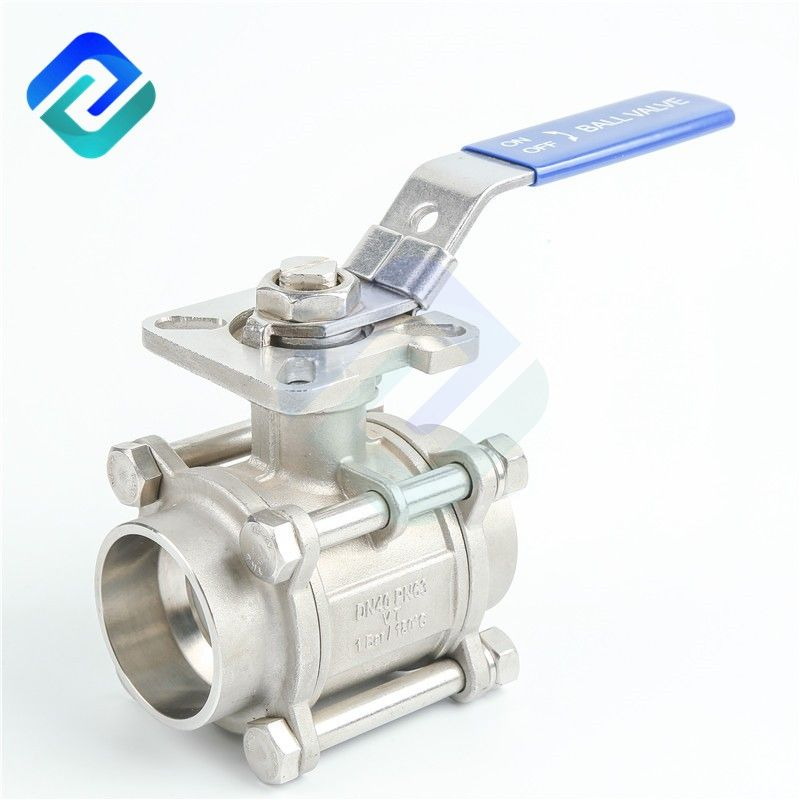 1/4 to 4 inch 3 piece ball valve stainless steel 304 316 buttwelding connector with mounting pad China manufacturer