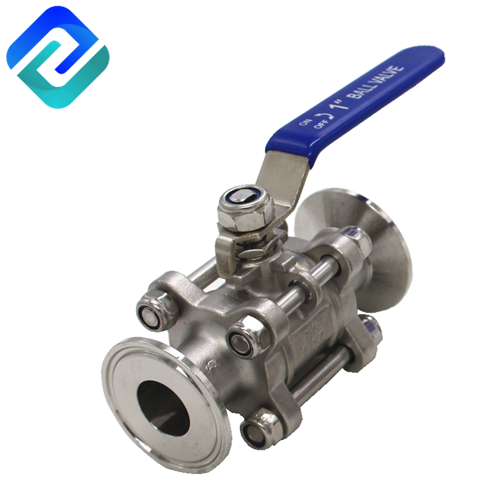 3 PC manual sanitary stainless steel clamp ball valve 1000PSI